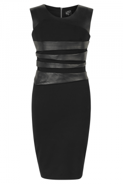 Bond Street Dress Black Leather - Front