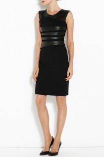 Bond Street Dress Black Leather - model