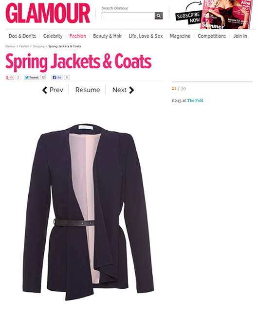 The Fold - Le Marais Jacket - SS13 glamourmagazine.co.uk - Spring Jackets & Coats