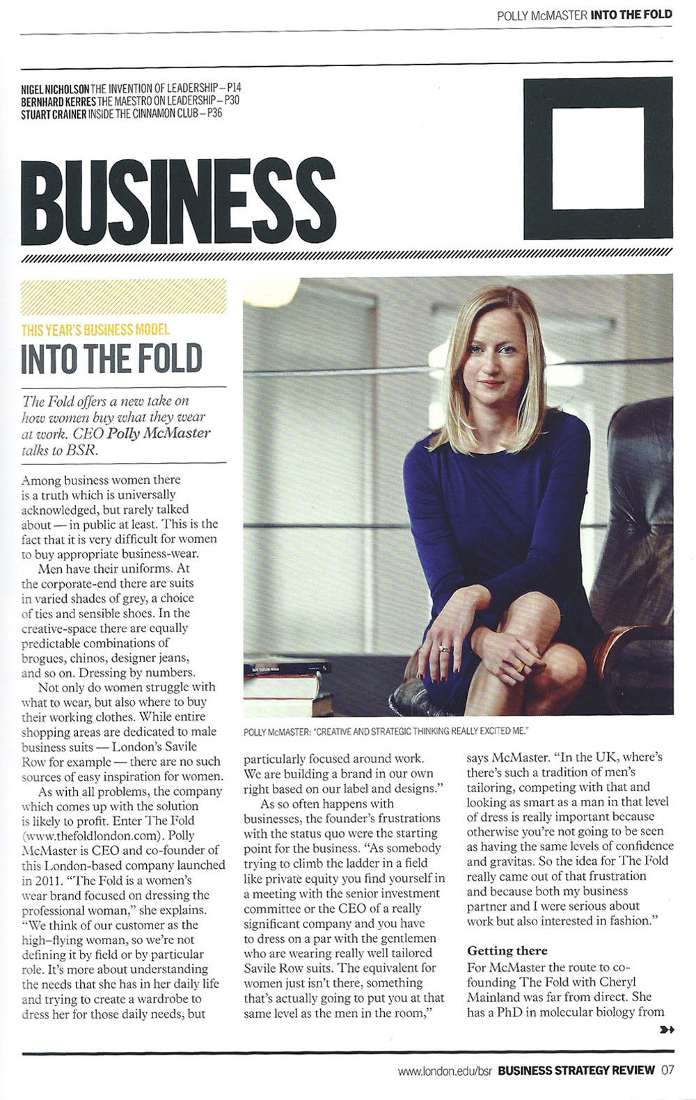 Business Strategy Review Magazine - Polly McMaster - The Fold London