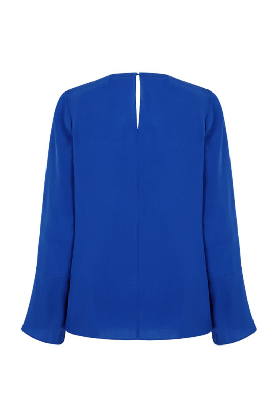 Adeline Blouse Blue Silk_BACK