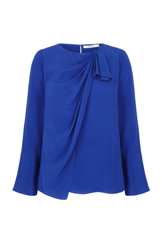 Adeline Blouse Blue Silk_FRONT