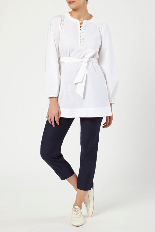 CORSICA_BLOUSE_WHITE_COTTON_DB099_REIMS_TROUSERS_NAVY_DT048_FRONT_52952