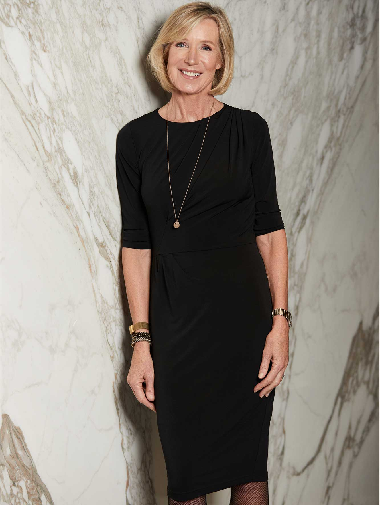 Anke Summerhill wears the Clifton Dress Black Jersey