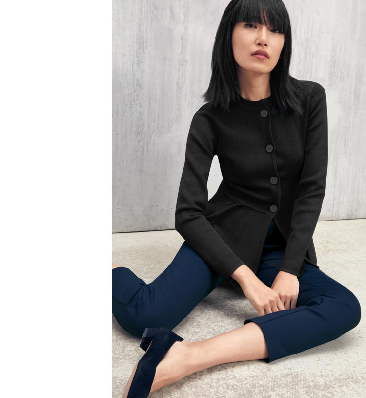skinny midnight blue workout trousers and Drayton knit jacket black