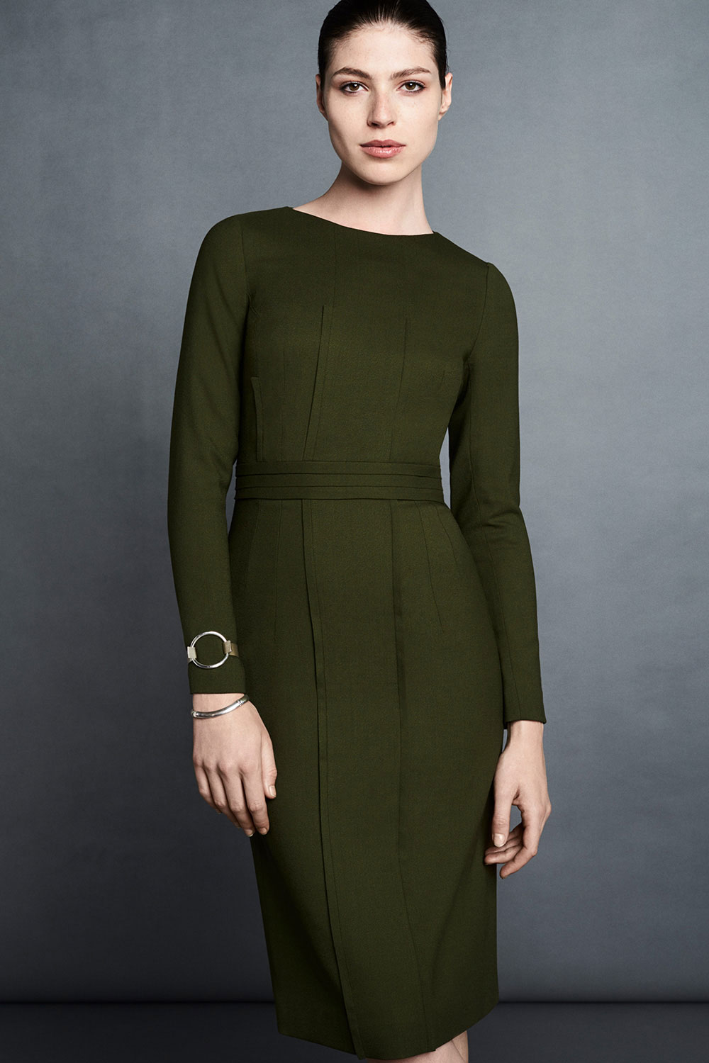 Montague Dress Forest Green Wool Crepe