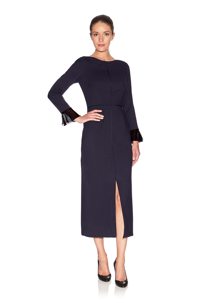 Connaught Dress Navy and Sheer Wool Crepe