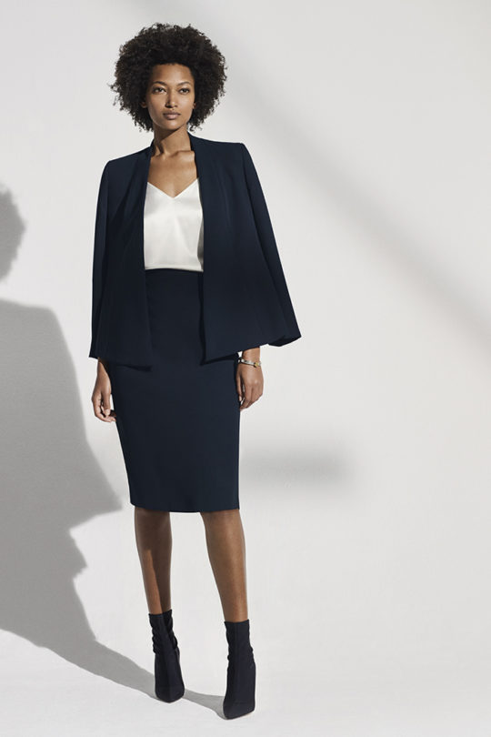 LeMarais_Wrap_Jacket_Blk_DJ006_Haydon_Top_Ivory_Silk_Satin_DB049_Slim_Fit_Pencil_Skirt_Navy
