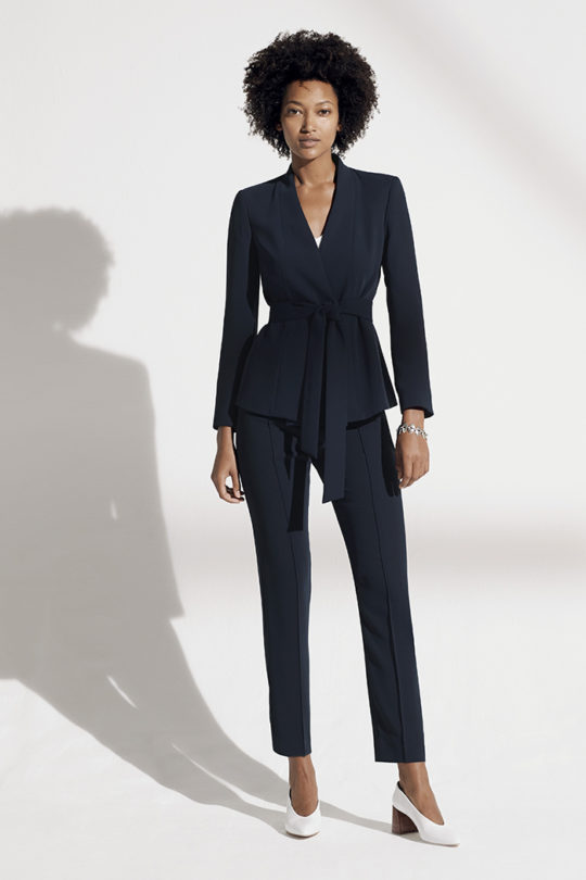 LeMarais_Wrap_Jacket_Navy_DJ005_Haydon_Top_Ivory_Silk_Satin_DB049_LeMarais_Tailored_Trousers_Navy_DO182003_1366