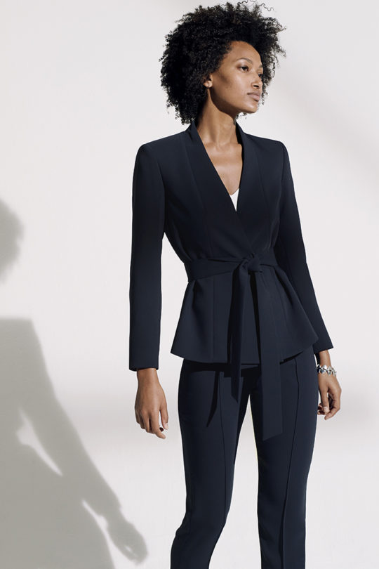 LeMarais_Wrap_Jacket_Navy_DJ005_Haydon_Top_Ivory_Silk_Satin_DB049_LeMarais_Tailored_Trousers_Navy_DO182003_1417