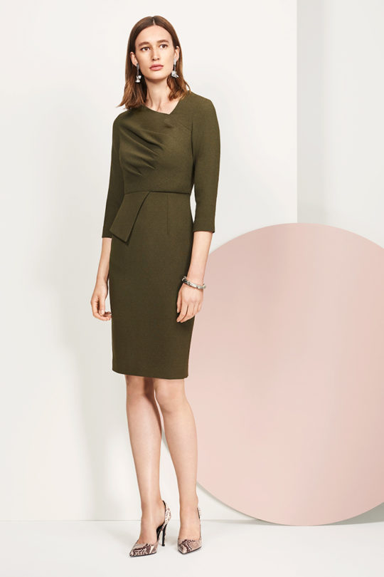 Rosemead Dress Khaki Italian Crepe