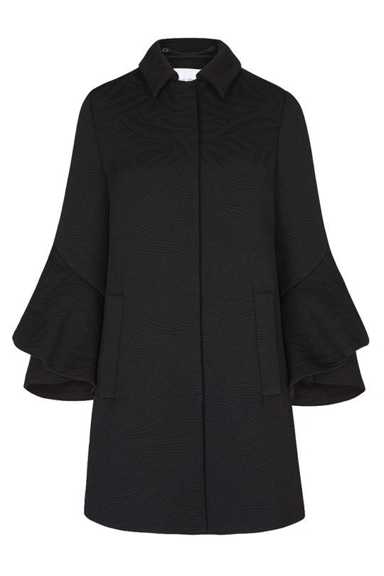 Napier Coat Black Jacquard