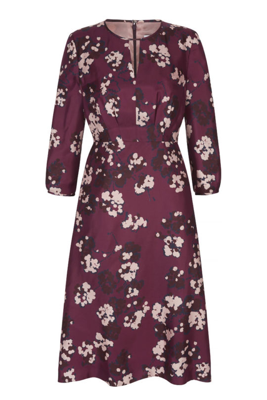 Rochester Dress Mulberry Floral Silk