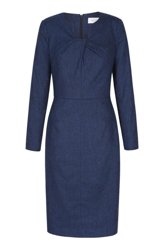 Waverley Dress Indigo Blue Wool Tweed