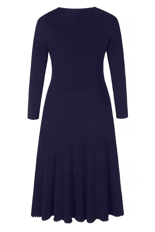 Eversdon Swing Dress Navy Rib Knit 3