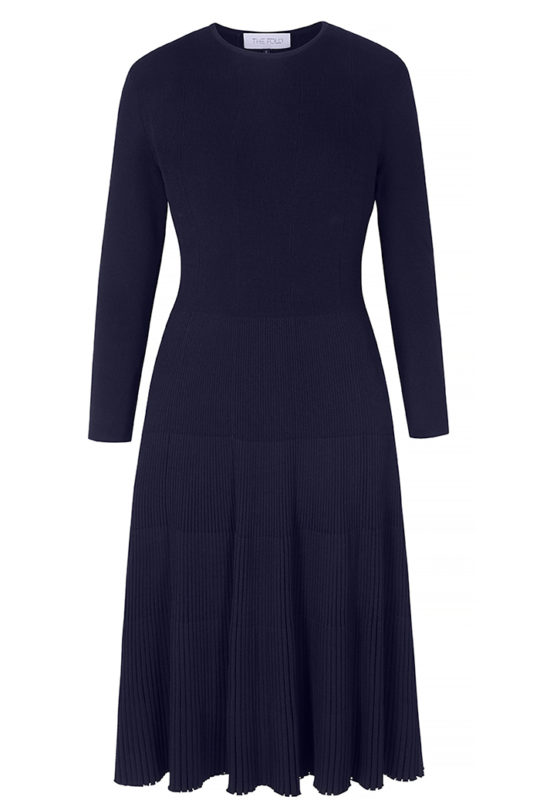 Eversdon Swing Dress Navy Rib Knit 2
