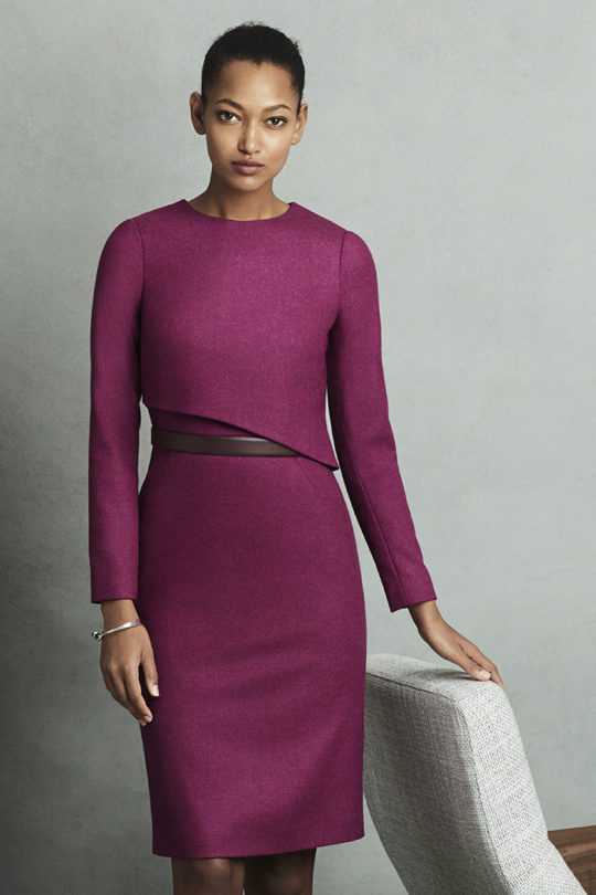 Fitzrovia Dress Magenta Wool Tweed