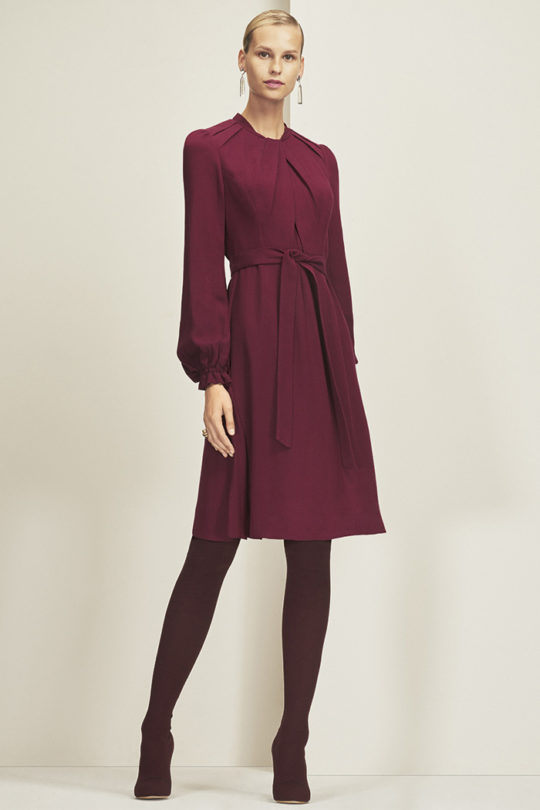 Haslemere Dress Burgundy Herringbone