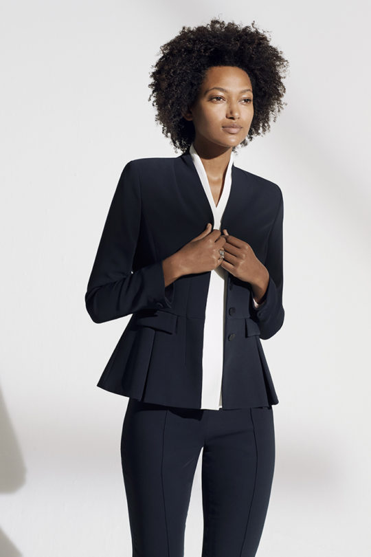 LeMarais_Peplum_Jacket_Navy_DJ021_Bowery_Silk_Blouse_White_DB025_LeMarais_Tailored_Trousers_Navy_DO182003_1531