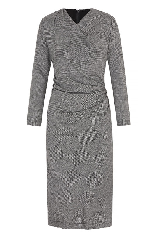 Belgravia Dress Black And White Herringbone Jersey