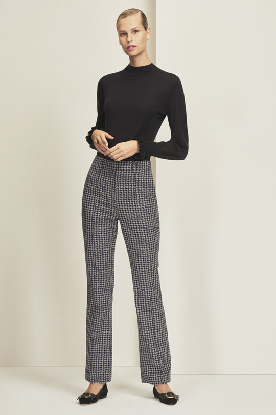Hamilton Bootcut Trousers Navy And Ivory Houndstooth