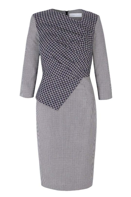 Rosemead Dress Navy And Ivory Houndstooth