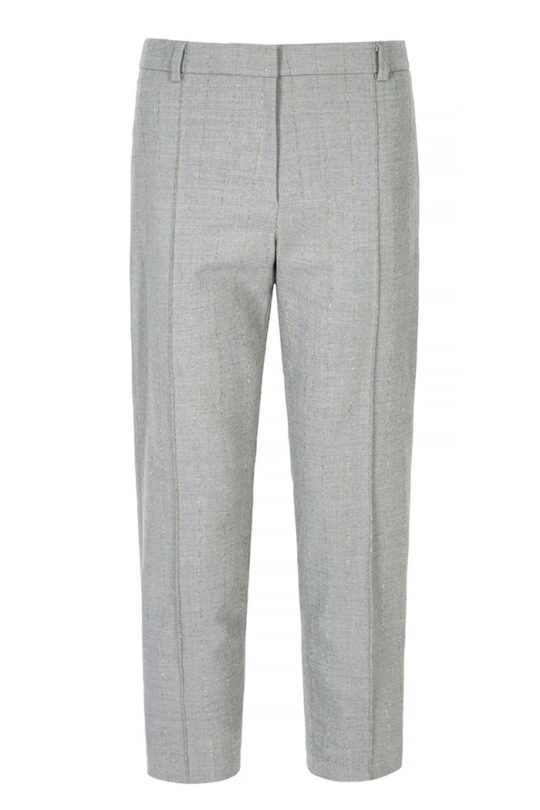 Orwell Tailored Trousers Pebble Grey Wool Mohair Pinstripe