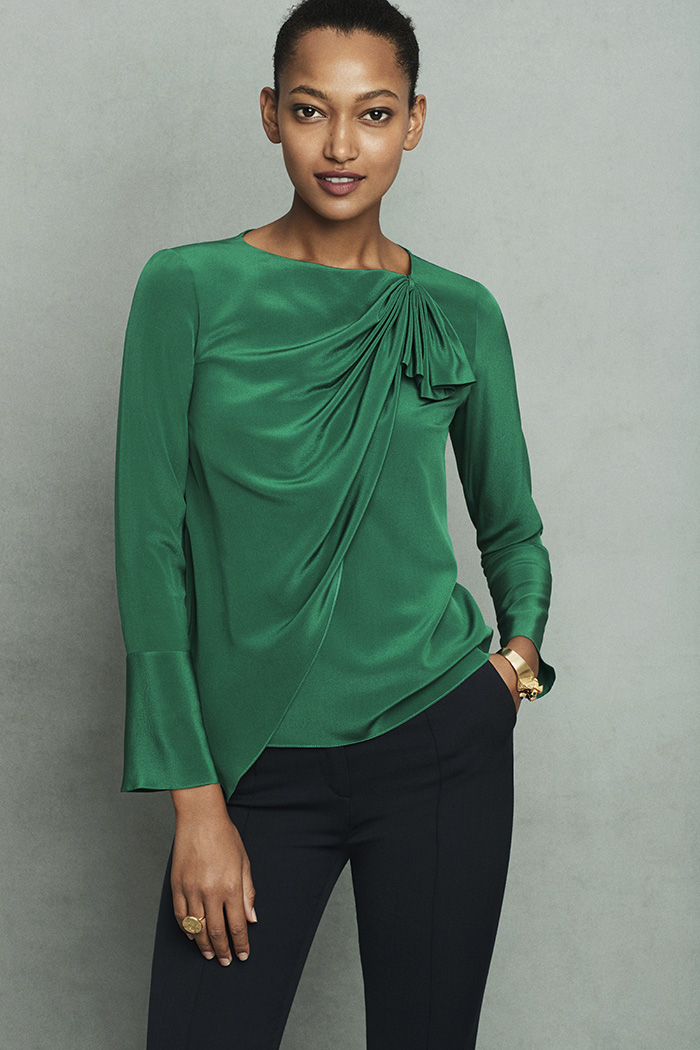 Adeline Blouse Emerald Green Silk