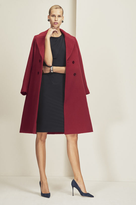 Aldwych Coat Garnet Red Merino Wool