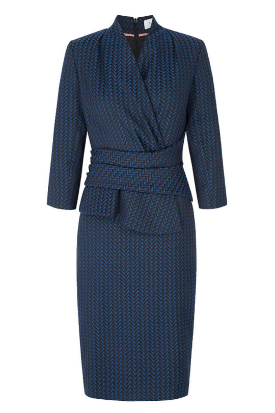 Arlington Dress Indigo Blue Wool Jacquard