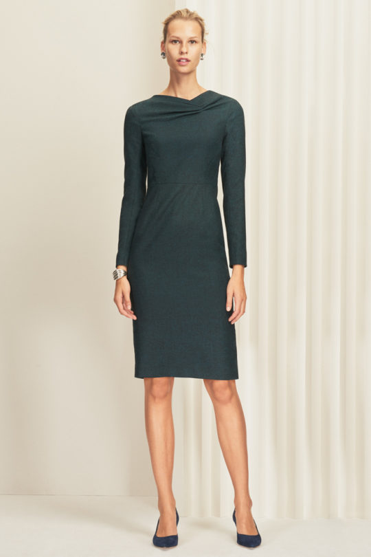 Calcot Dress Deep Ocean Green Wool Tweed
