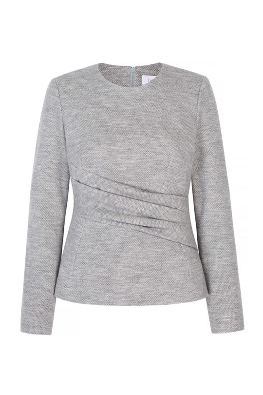 Fitzroy Top Pebble Grey Wool Jersey