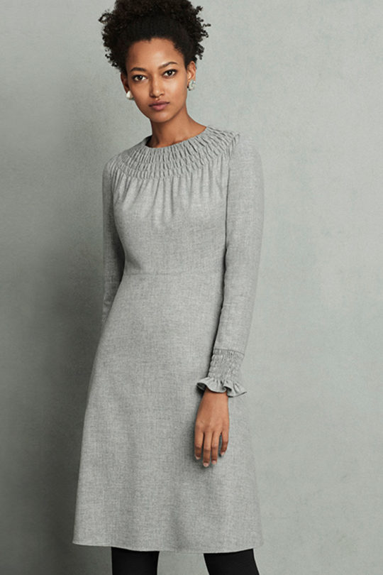 Highclere Dress Pebble Grey Wool 1