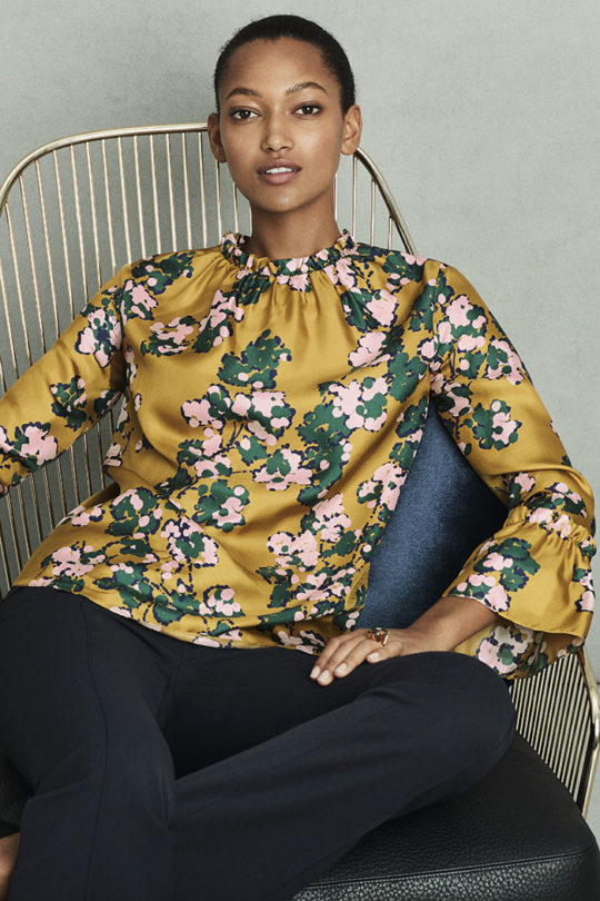 Isola Blouse Tuscany Gold Floral Silk Twill