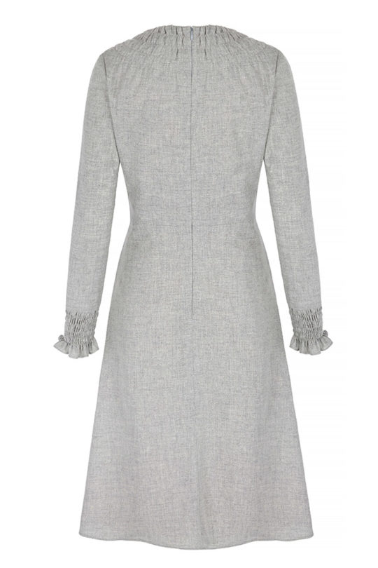 Highclere Dress Pebble Grey Wool 3