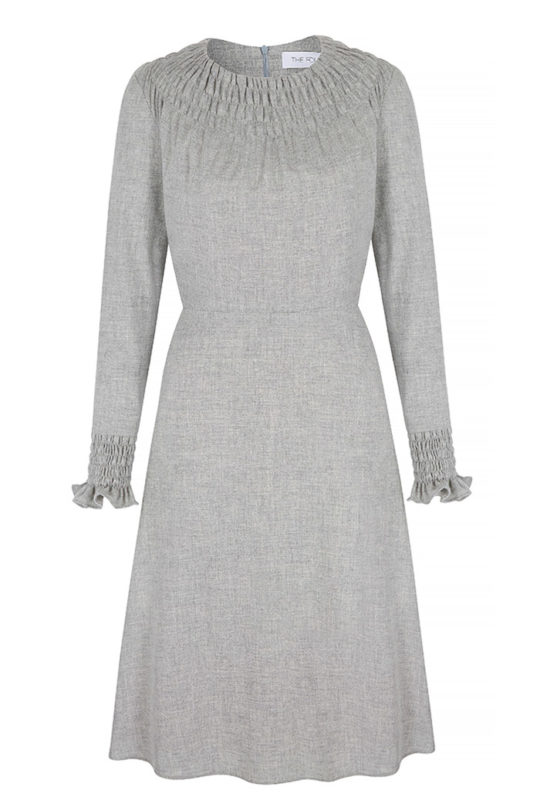 Highclere Dress Pebble Grey Wool