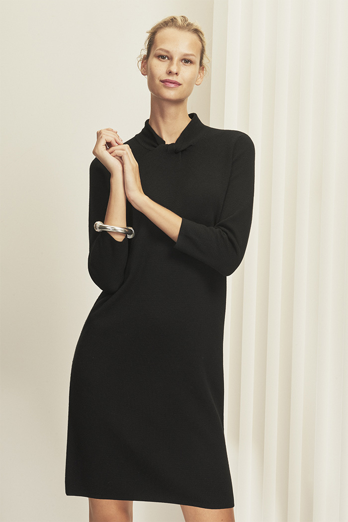 Newton Dress Black Milano-Knit Merino Wool