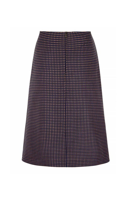Edington Skirt Navy Spot Jacquard 3