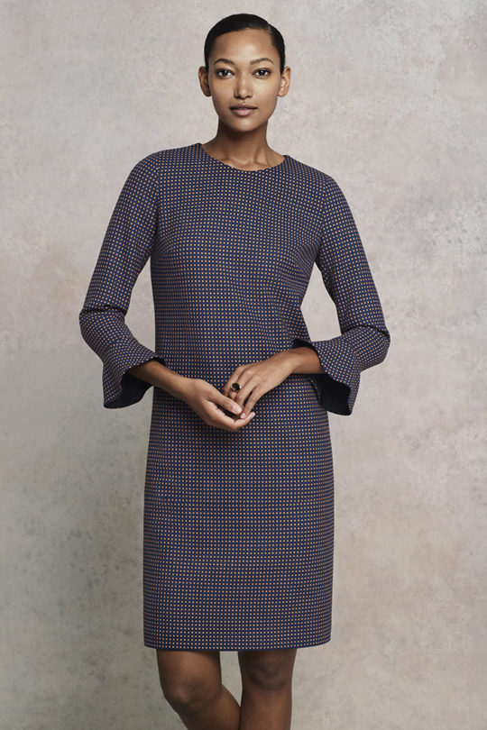 Carnaby Dress Navy Spot Jacquard