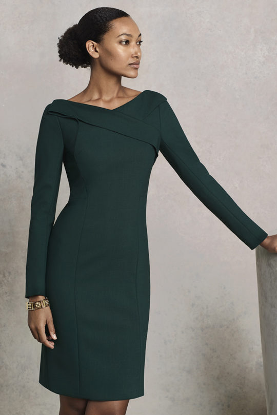 Glenmore Dress Dark Green Wool