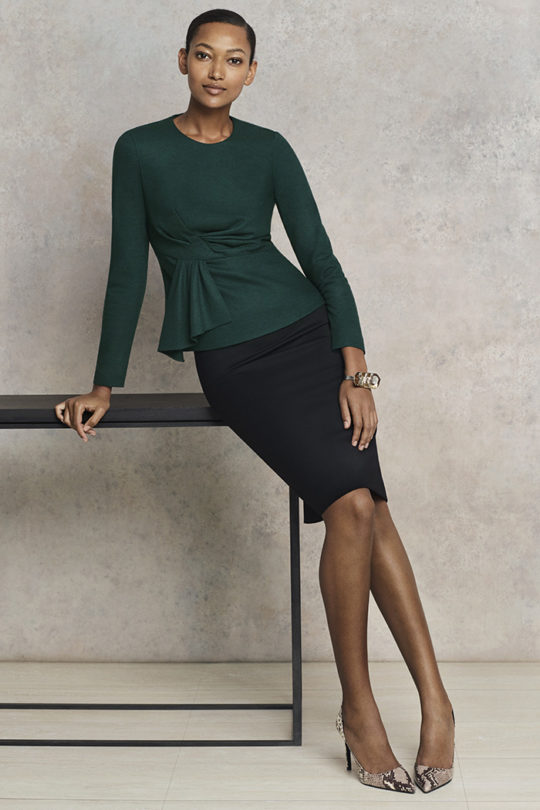 Calverley Top Dark Green Wool Jersey