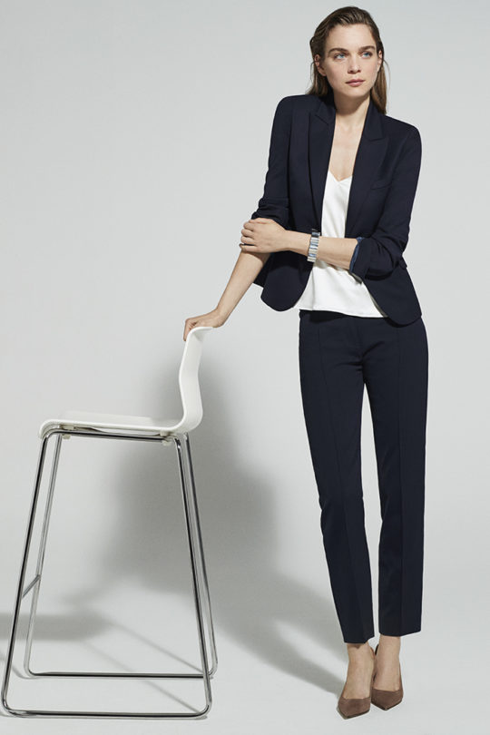 HAYDON TOP IVORY D0464EC1 TAILORED TROUSERS NAVY D0134P003