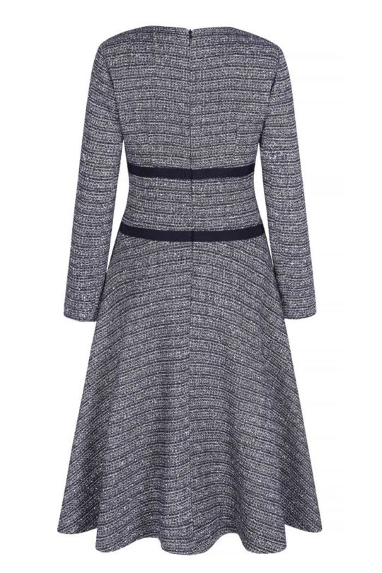 Southerby Dress Navy Stretch Tweed 3