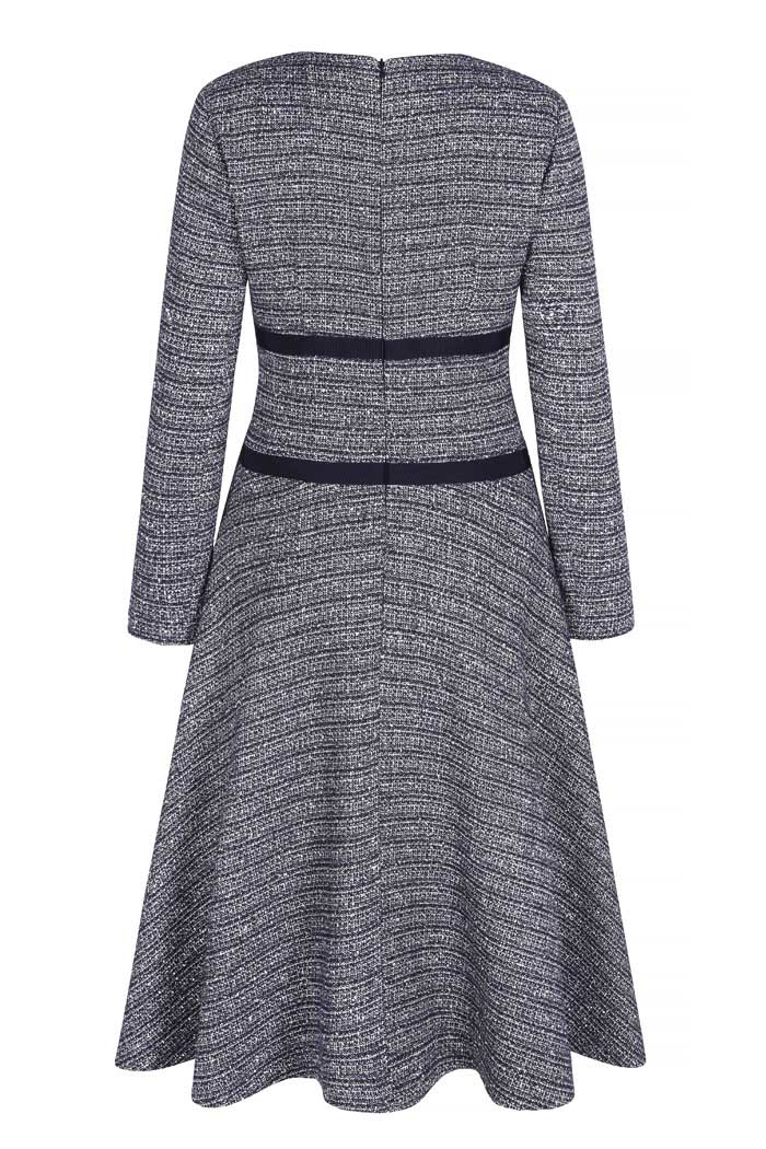 Southerby Dress Navy Stretch Tweed