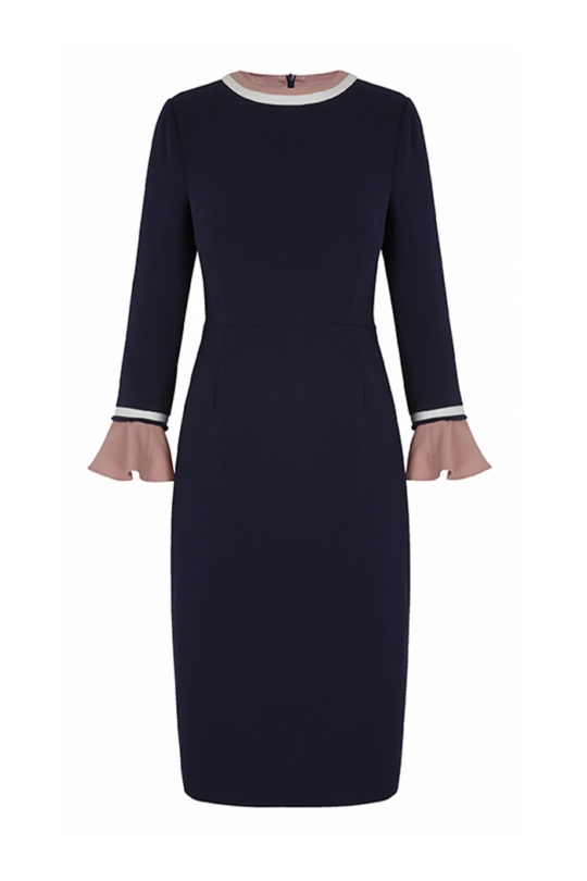 Rosnaree Dress Navy Crepe