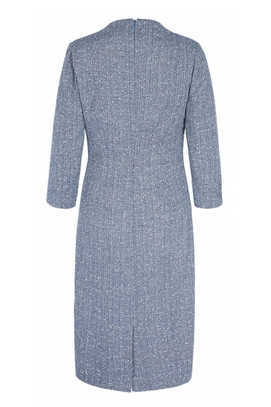 Westbourne Dress Sky Blue Stretch Tweed 3