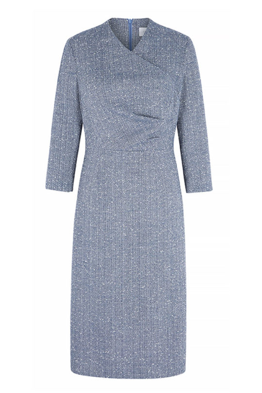 Westbourne Dress Sky Blue Stretch Tweed 2