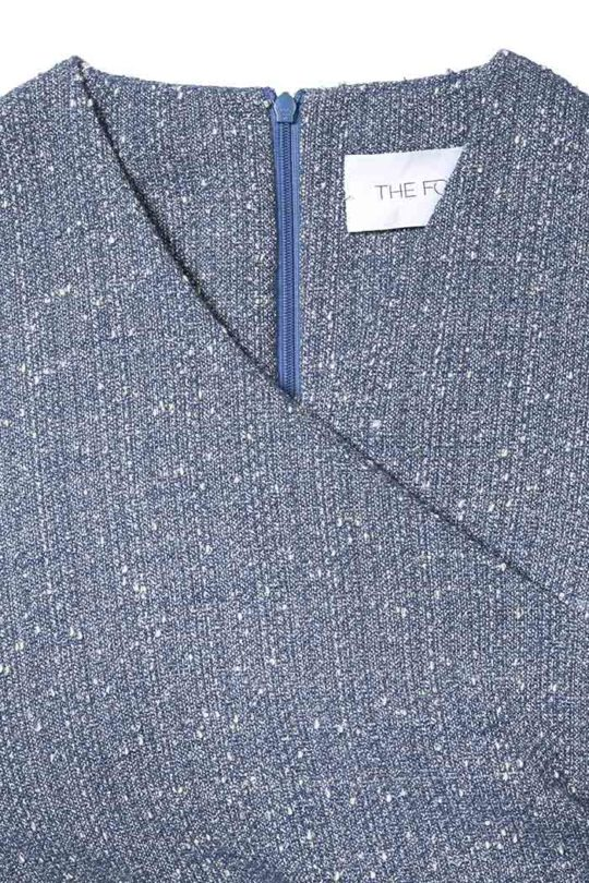 Westbourne Dress Sky Blue Stretch Tweed 4
