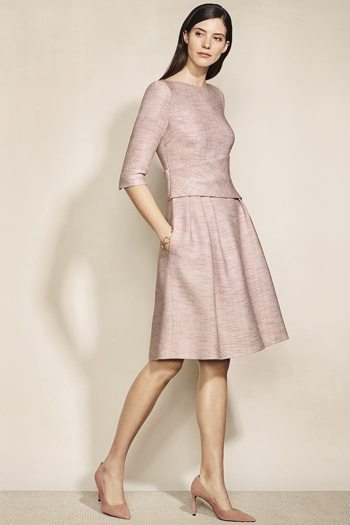 Camelot Dress Blush Pink Tweed 1