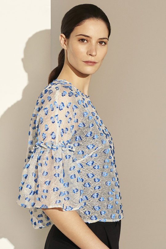 Dansdale Top Ivory and Blue Organza Jacquard_DB053